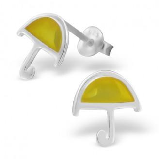 """Dětské stříbrné náušnice """"Žlutý deštník"""". Ag 925/1000"""